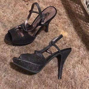 fioni black glitter stiletto heels